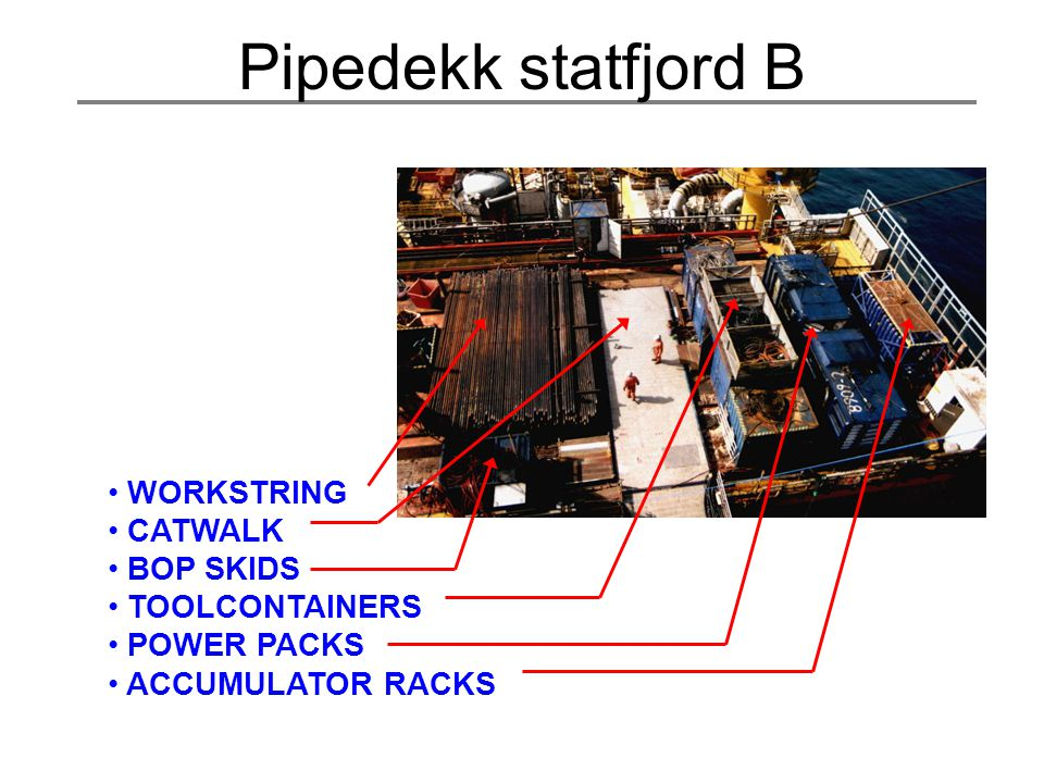 Pipedekk statfjord B WORKSTRING CATWALK BOP SKIDS TOOLCONTAINERS