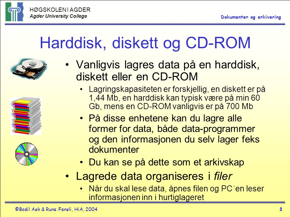 Harddisk, diskett og CD-ROM