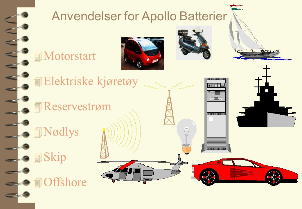 Anvendelser for Apollo Batterier