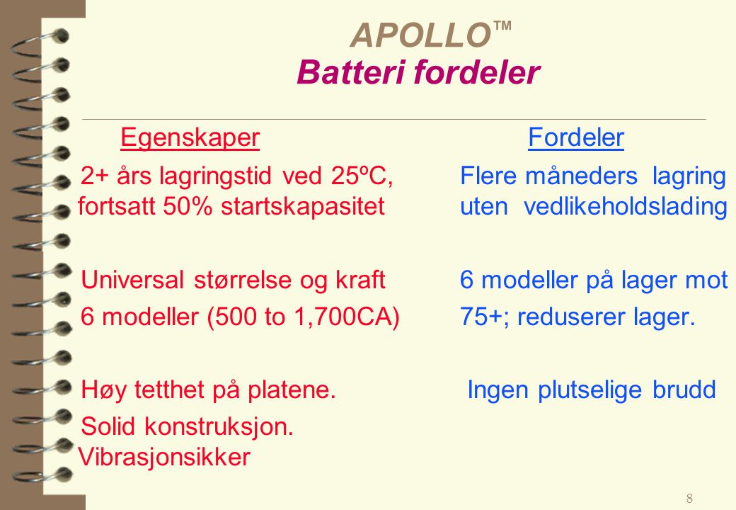 APOLLO™ Batteri fordeler