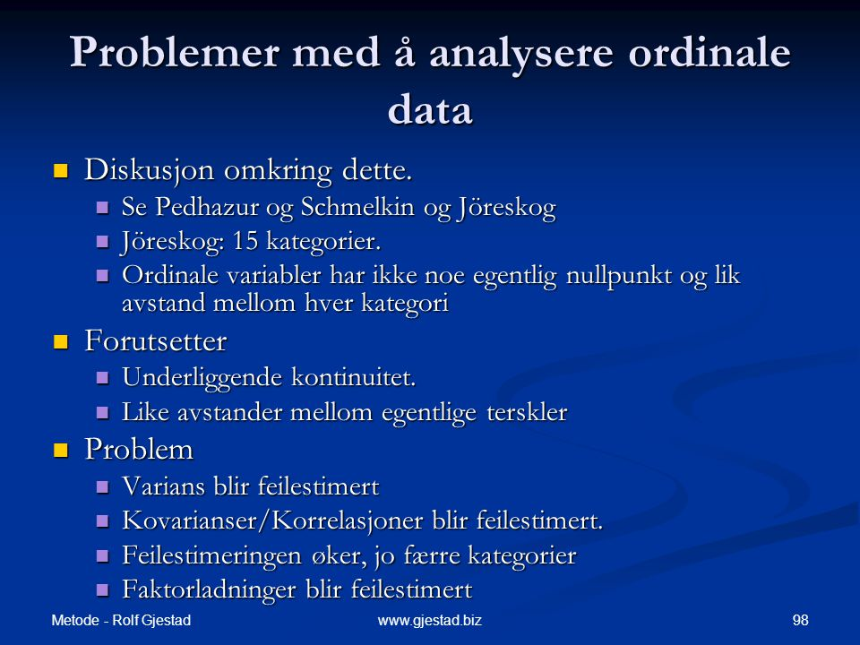 Problemer med å analysere ordinale data