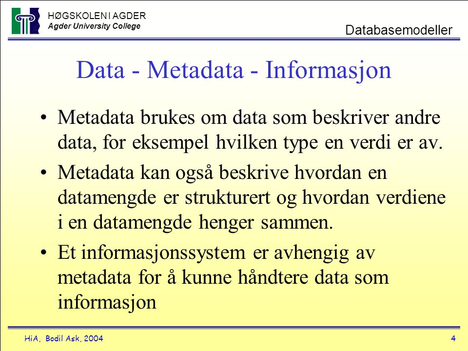 Data - Metadata - Informasjon