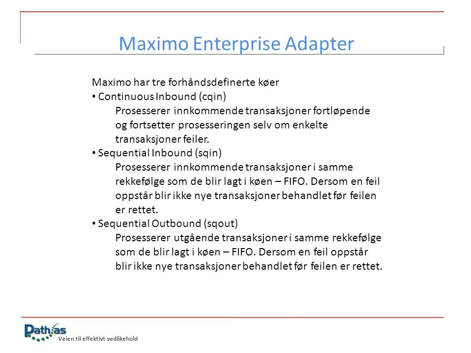 Maximo Enterprise Adapter