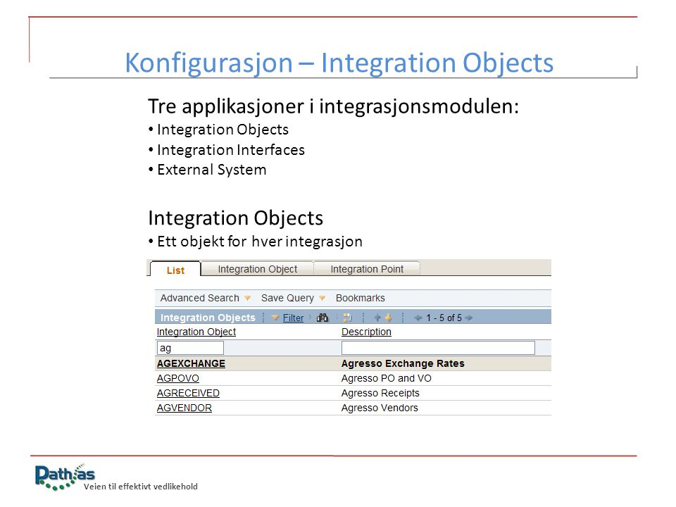 Konfigurasjon – Integration Objects