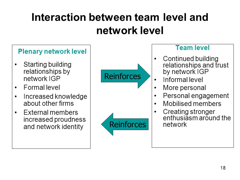 Interaction between team level and network level