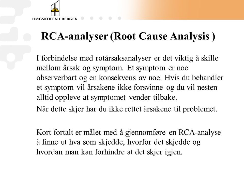 RCA-analyser (Root Cause Analysis )