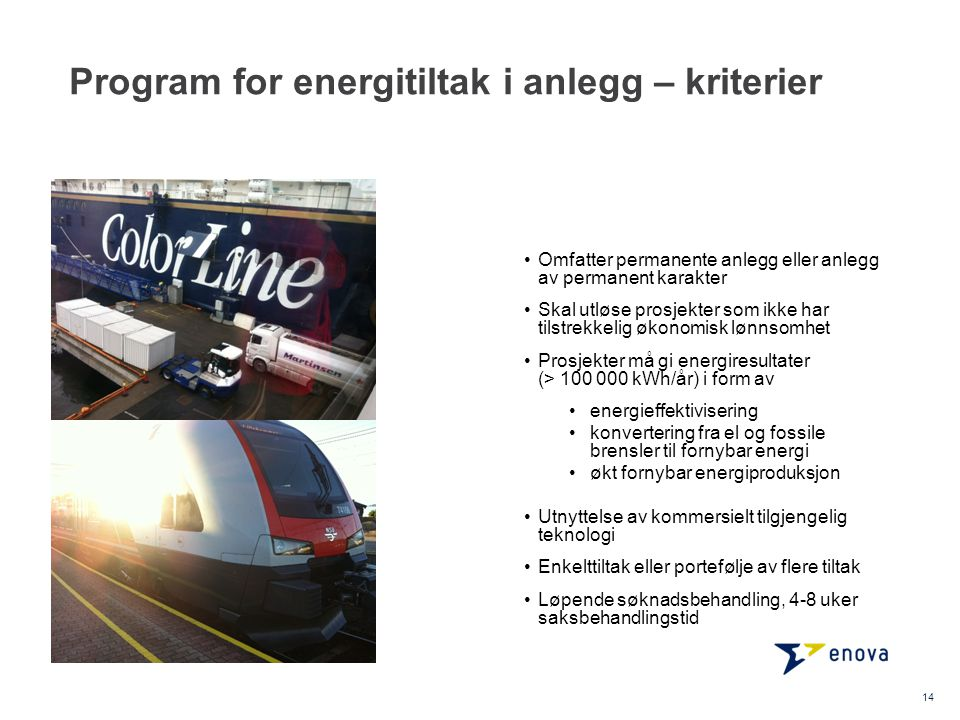 Program for energitiltak i anlegg – kriterier