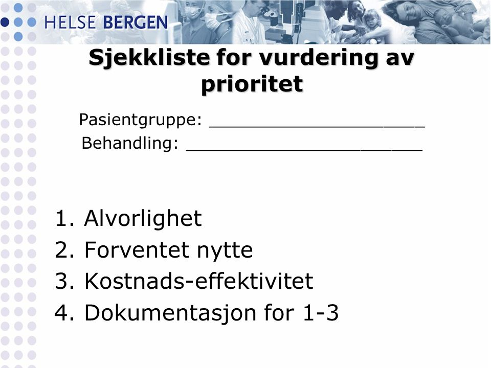 Sjekkliste for vurdering av prioritet