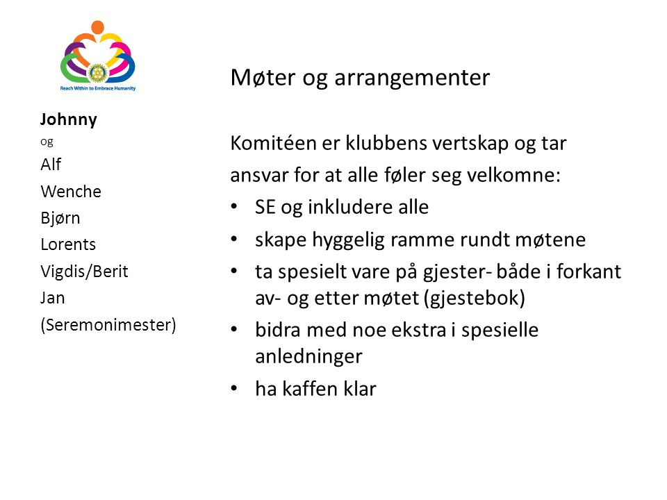 Møter og arrangementer