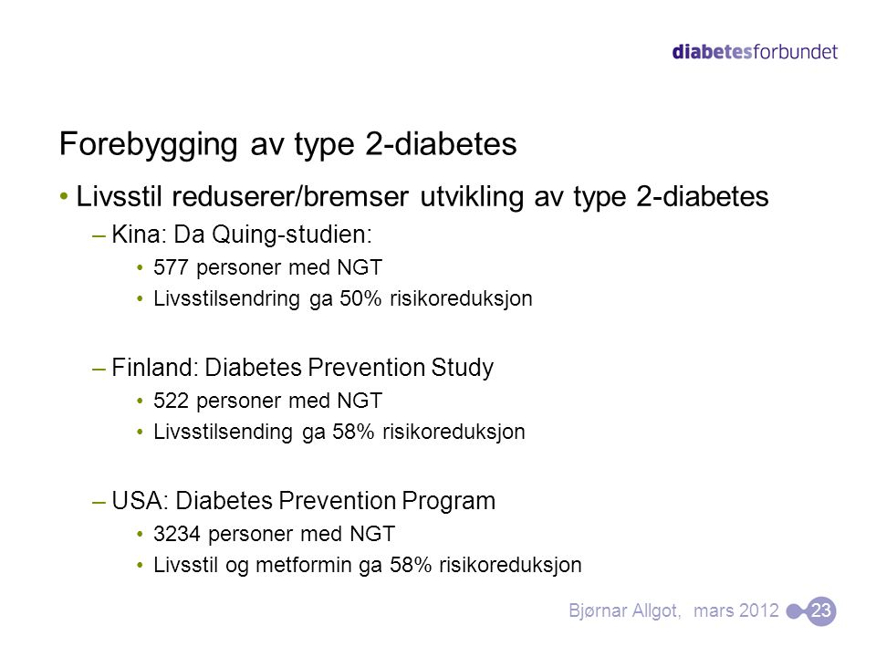 Forebygging av type 2-diabetes