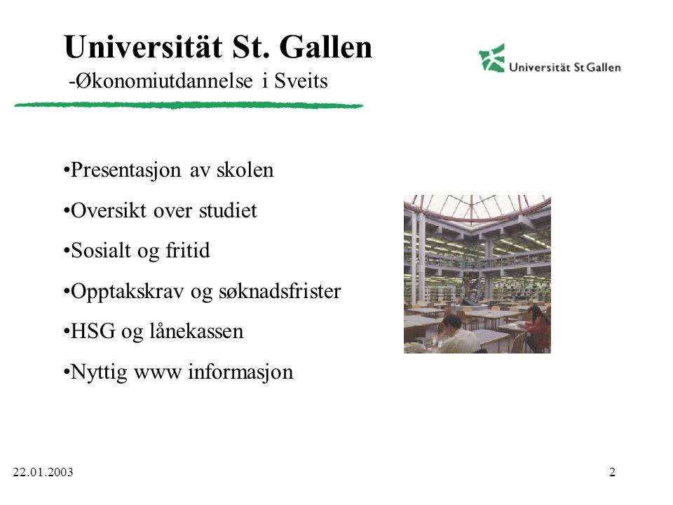 Universität St. Gallen -Økonomiutdannelse i Sveits