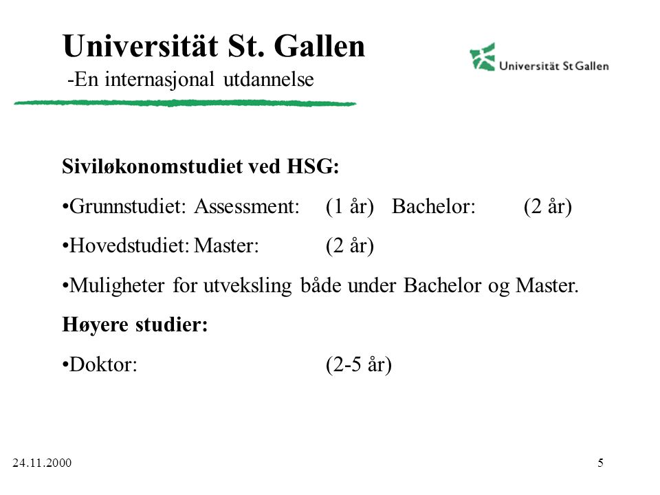 Universität St. Gallen -En internasjonal utdannelse