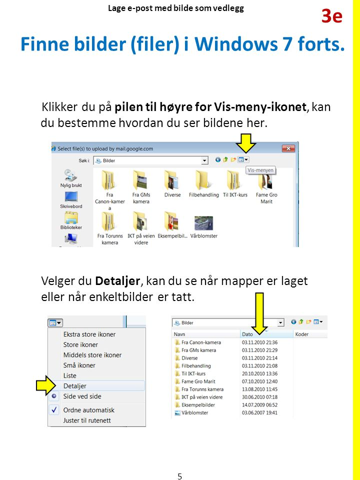 Finne bilder (filer) i Windows 7 forts.