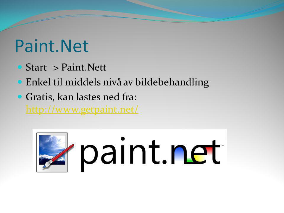 Paint.Net Start -> Paint.Nett