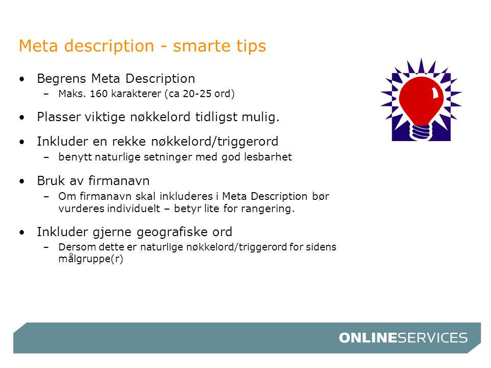 Meta description - smarte tips