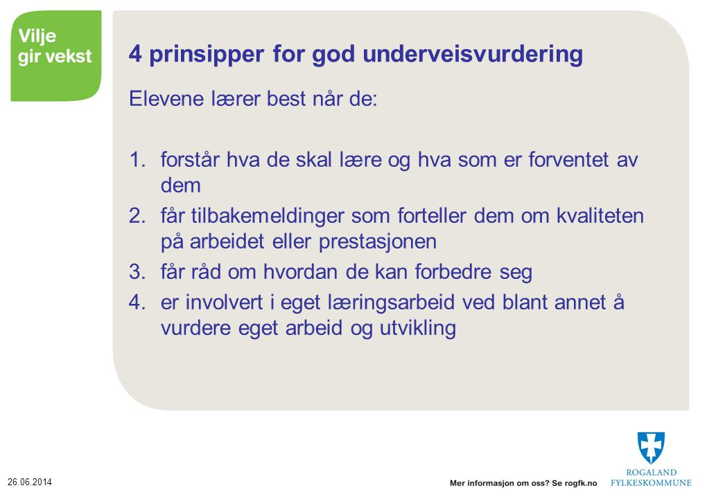 4 prinsipper for god underveisvurdering
