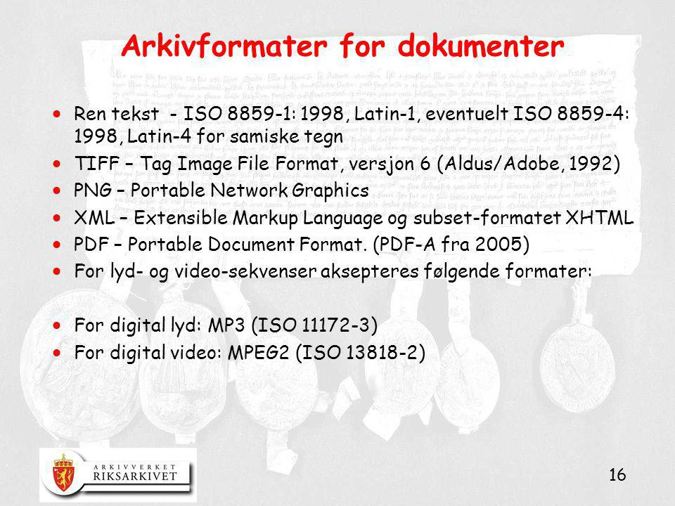 Arkivformater for dokumenter