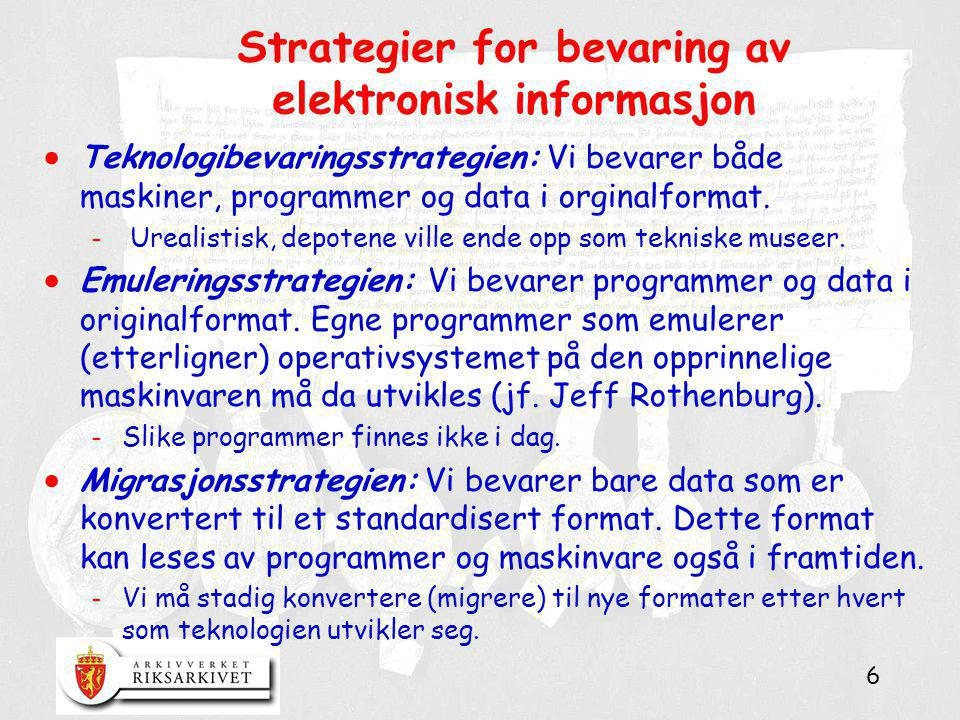 Strategier for bevaring av elektronisk informasjon
