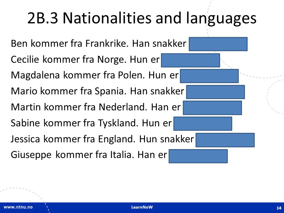 2B.3 Nationalities and languages