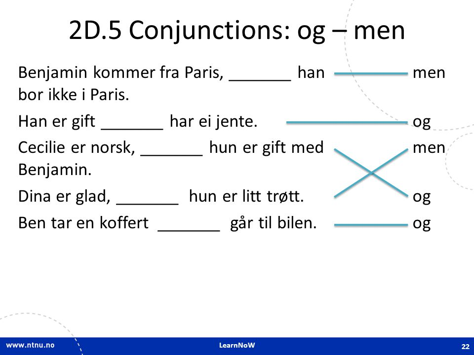 2D.5 Conjunctions: og – men