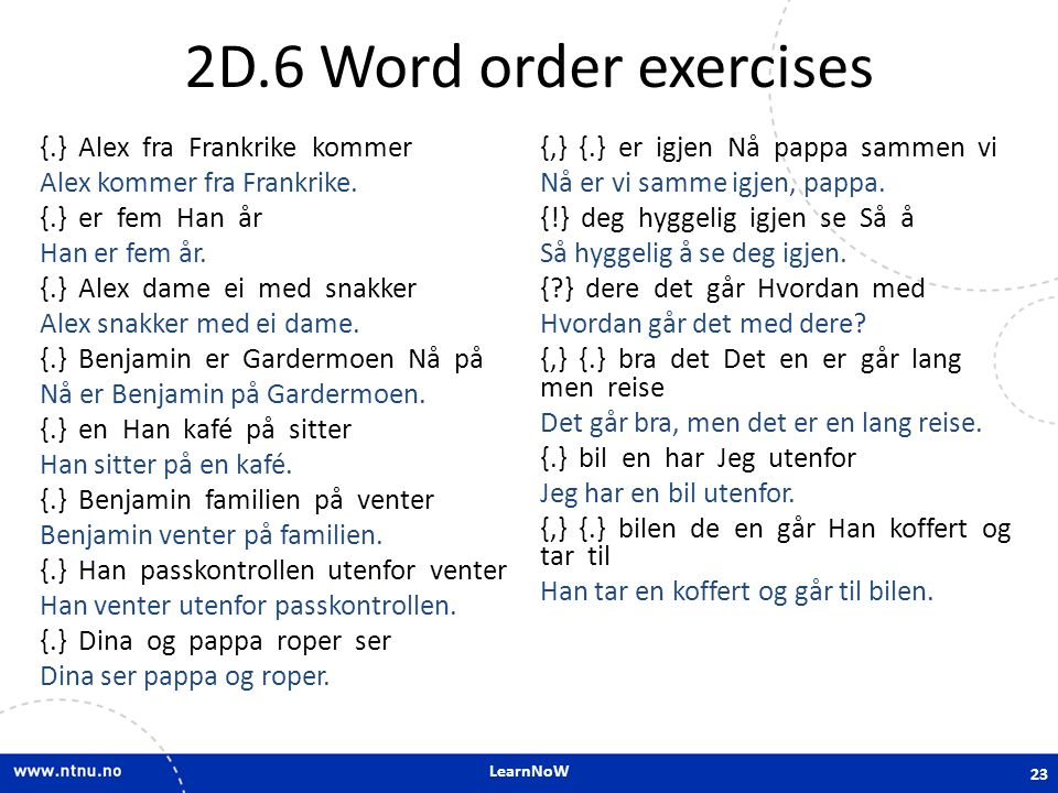 2D.6 Word order exercises