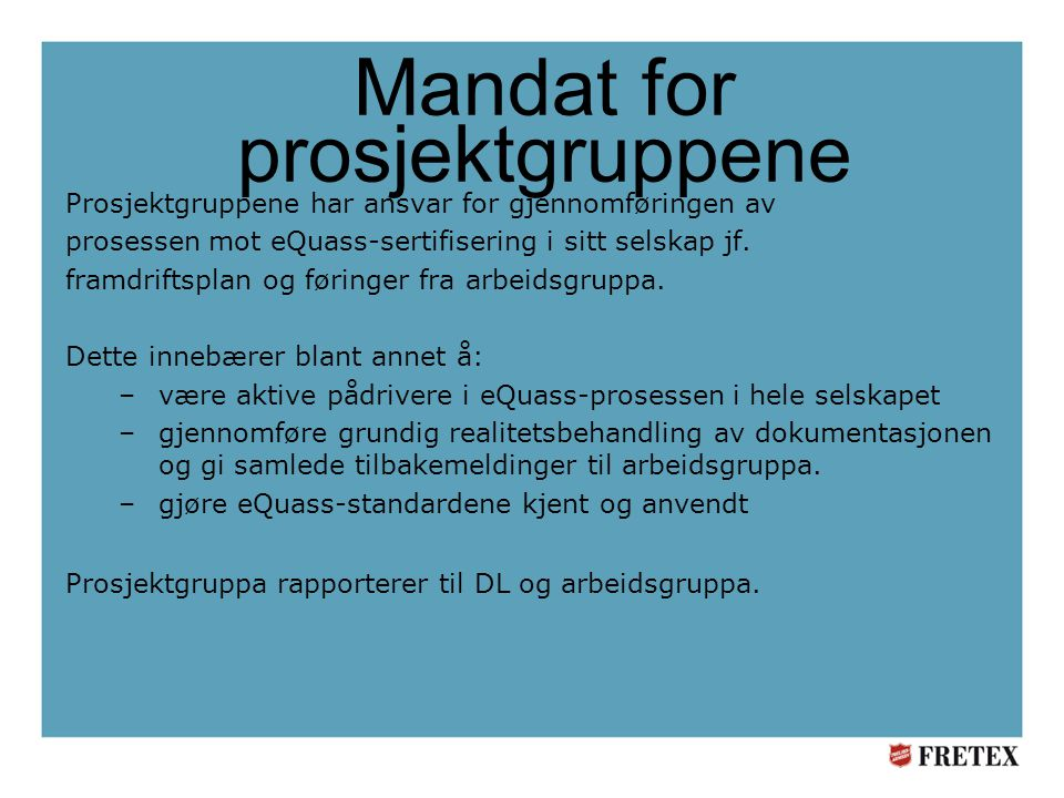Mandat for prosjektgruppene