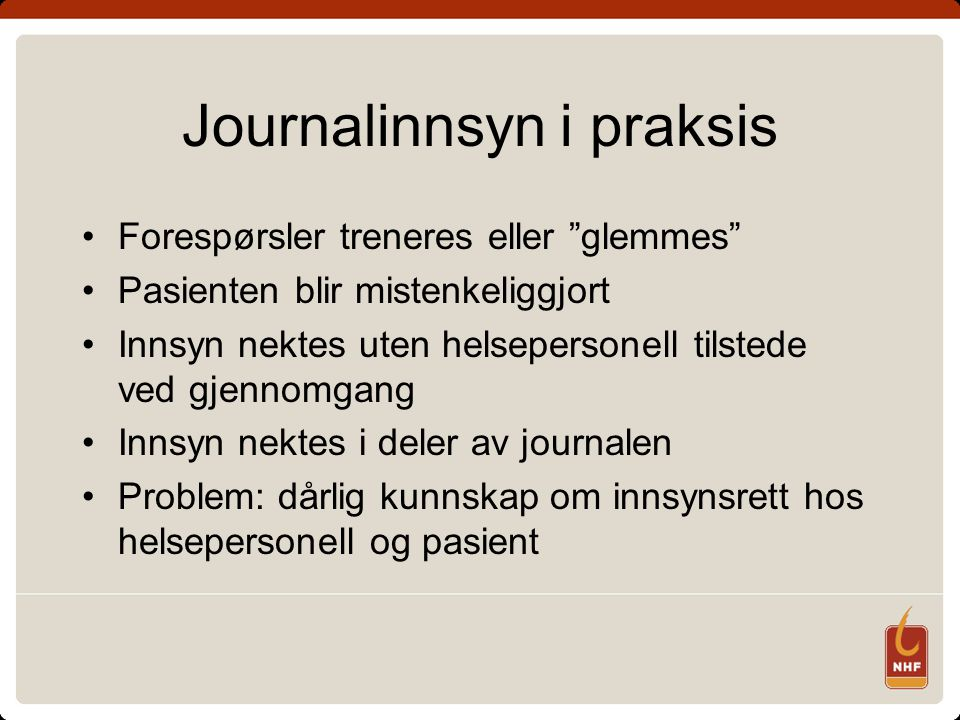 Journalinnsyn i praksis