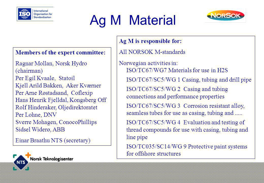 Ag M Material Ag M is responsible for: All NORSOK M-standards