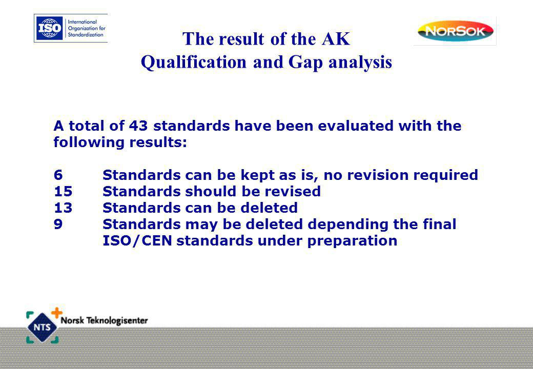 The result of the AK Qualification and Gap analysis