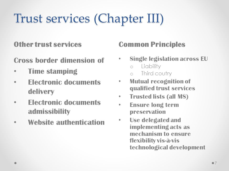 Trust services (Chapter III)