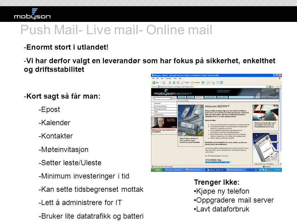 Push Mail- Live mail- Online mail
