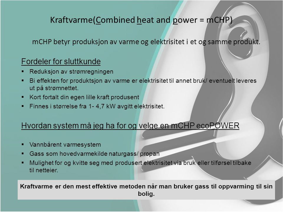 Kraftvarme(Combined heat and power = mCHP)