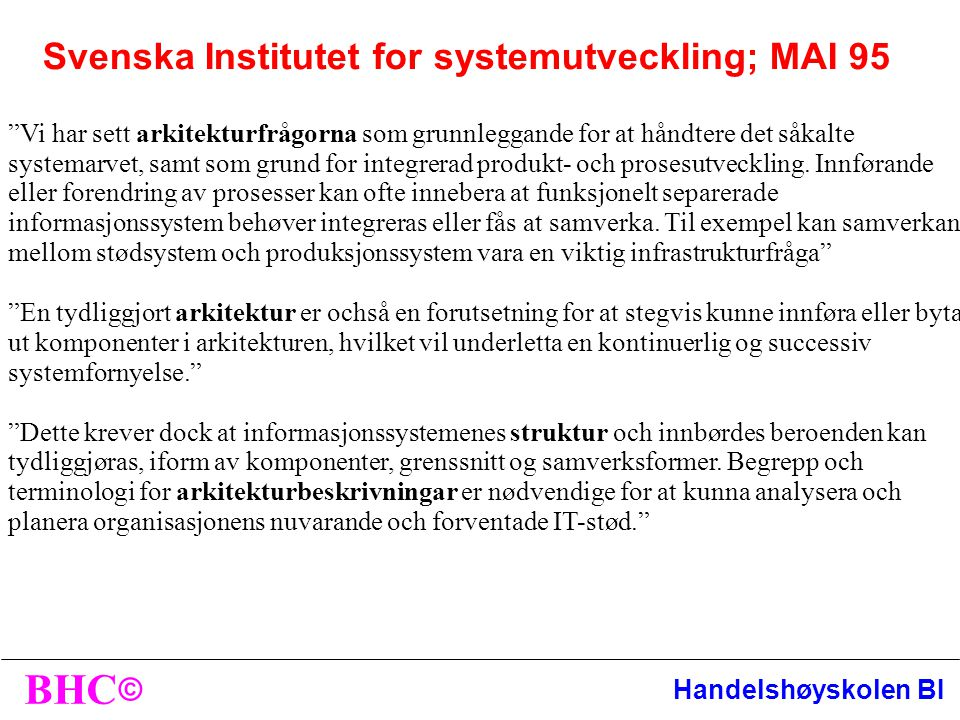 Svenska Institutet for systemutveckling; MAI 95