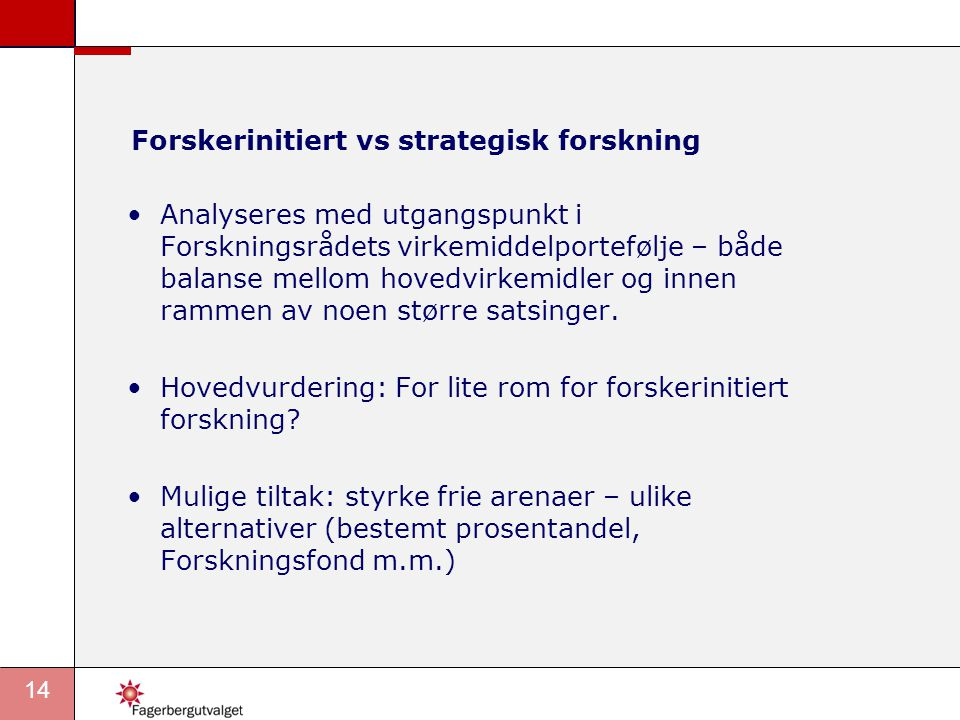 Forskerinitiert vs strategisk forskning