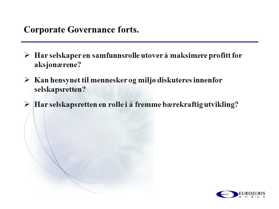 Corporate Governance forts.