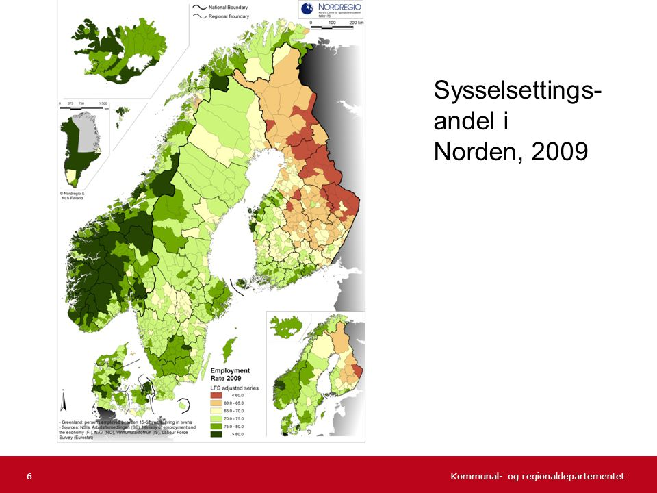 Sysselsettings-andel i Norden, 2009
