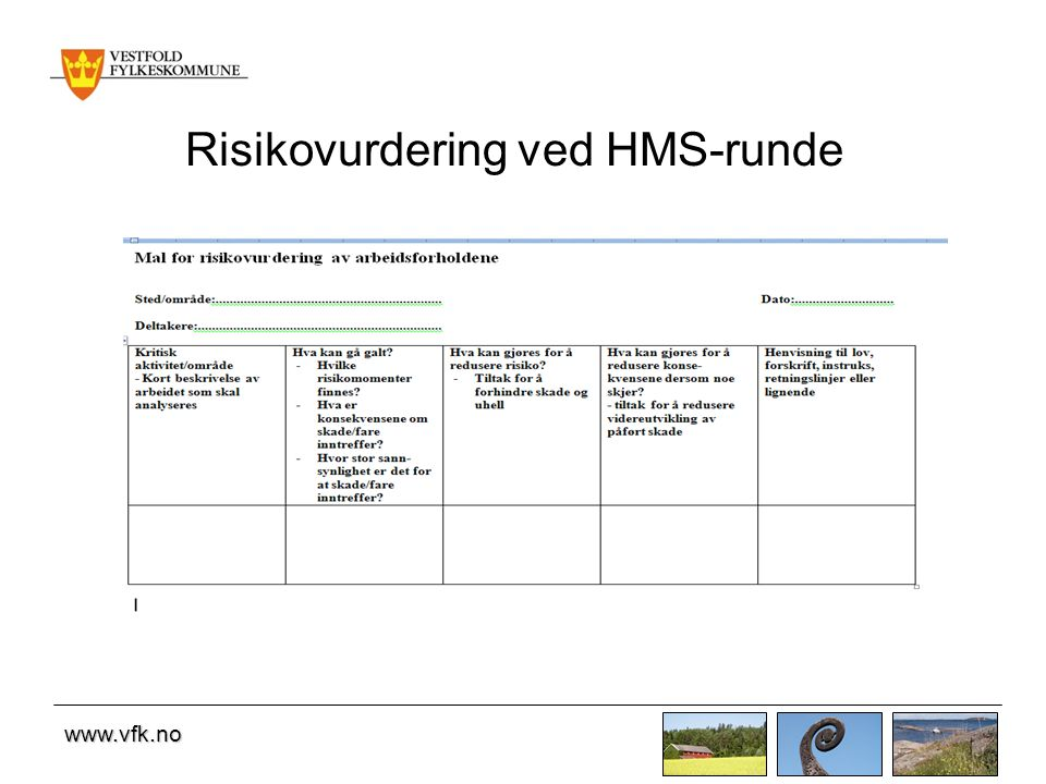 Risikovurdering ved HMS-runde