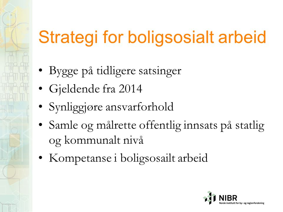 Strategi for boligsosialt arbeid
