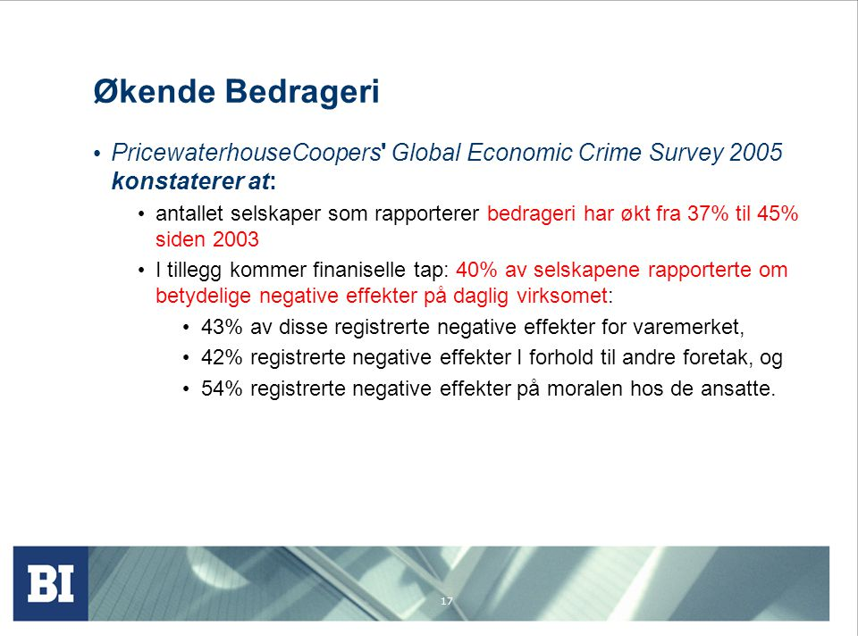 Økende Bedrageri PricewaterhouseCoopers Global Economic Crime Survey 2005 konstaterer at: