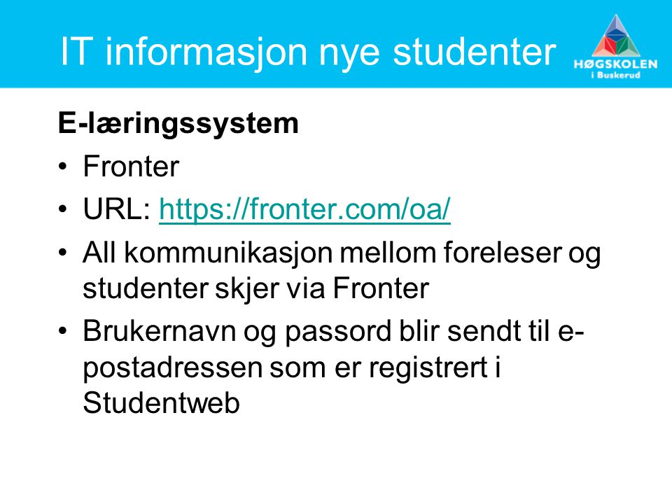 IT informasjon nye studenter