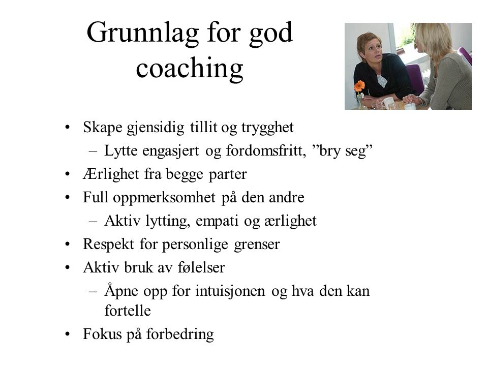 Grunnlag for god coaching