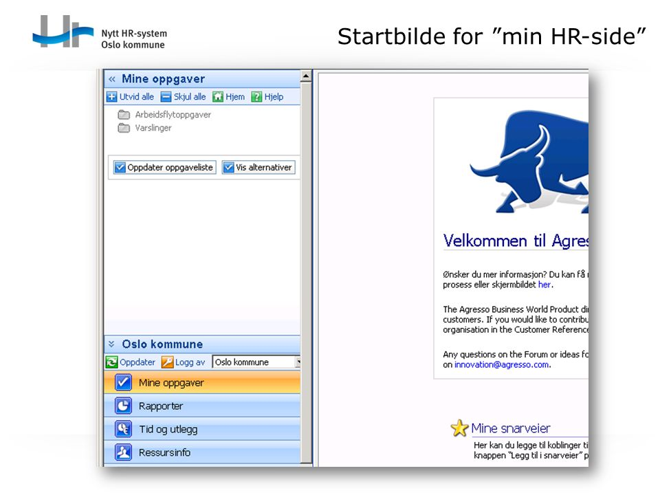 Startbilde for min HR-side
