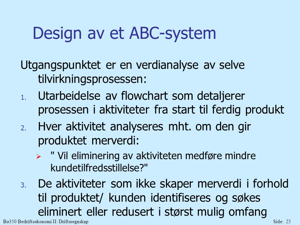 Design av et ABC-system