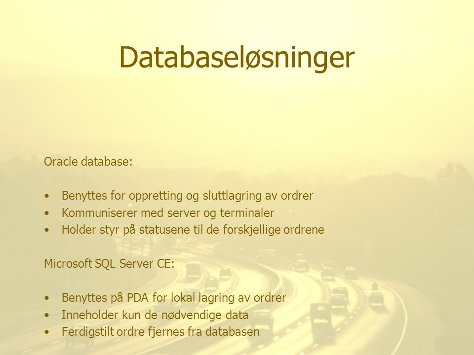 Databaseløsninger Oracle database: