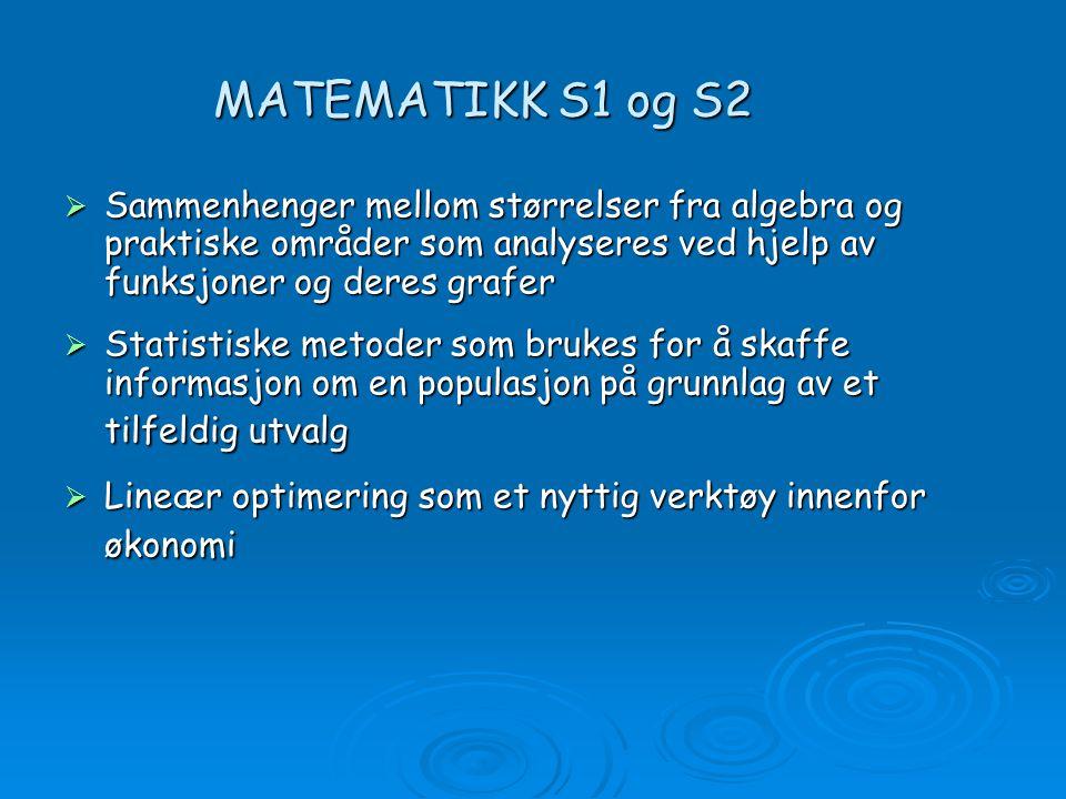 9ad56f50 5 MATEMATIKK S1 og S2 Sammenhenger mellom størrelser fra algebra og praktiske  områder som analyseres ved hjelp ...
