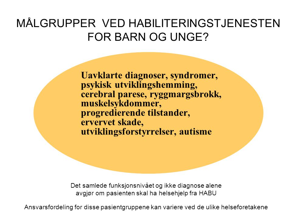 MÅLGRUPPER VED HABILITERINGSTJENESTEN FOR BARN OG UNGE