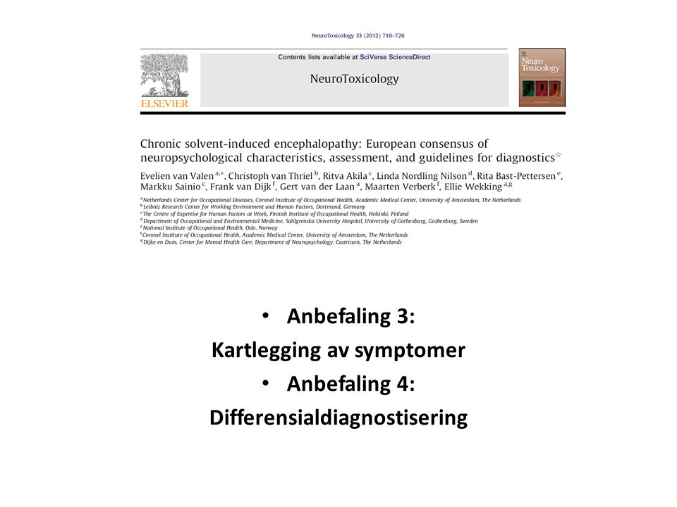 Kartlegging av symptomer Differensialdiagnostisering
