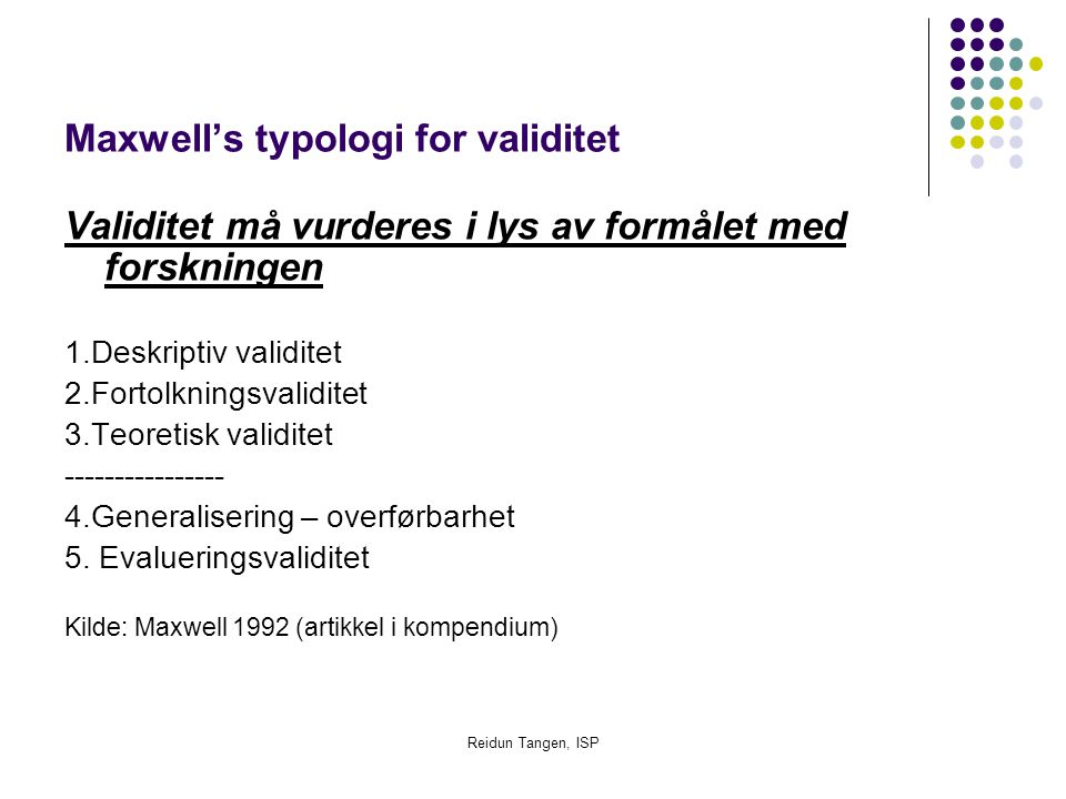 Maxwell's typologi for validitet