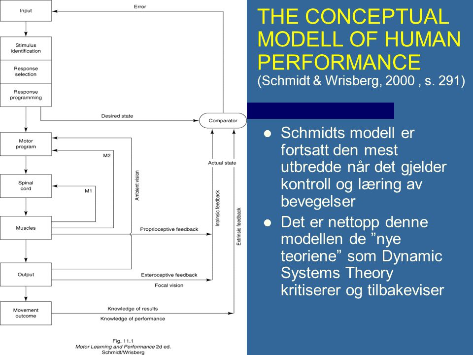 THE CONCEPTUAL MODELL OF HUMAN PERFORMANCE (Schmidt & Wrisberg, 2000 , s. 291)